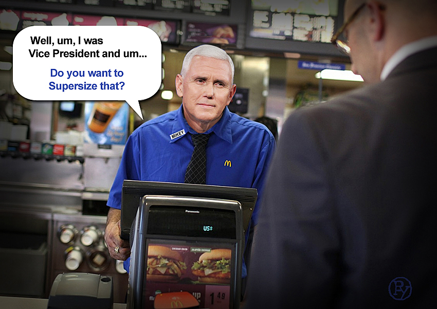 HUMILIATED PENCE TO RESIGN. VP WILL TAKE POSITION WITH MCDONALD'S IN COLUMBUS, INDIANA