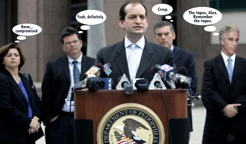 Speech Balloons Point to Alex Acosta's Role in Epstein Plea Deal