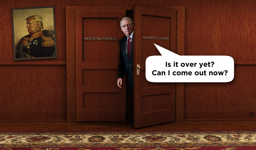 Mitch McConnell Briefly Spotted in Capitol Building