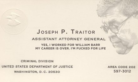 Barr Furious at Prank DOJ Business Cards